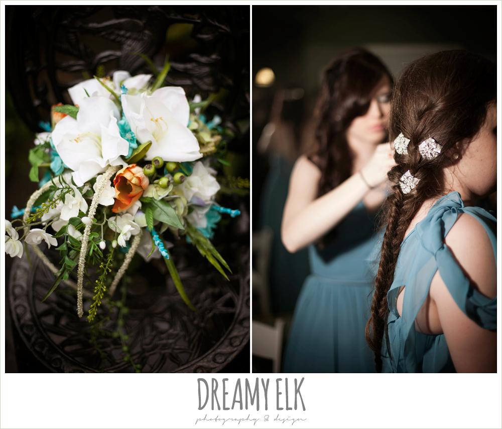 orange blue and green wedding bouquet, unique wedding hair, le jardin winter wedding {dreamy elk photography and design}