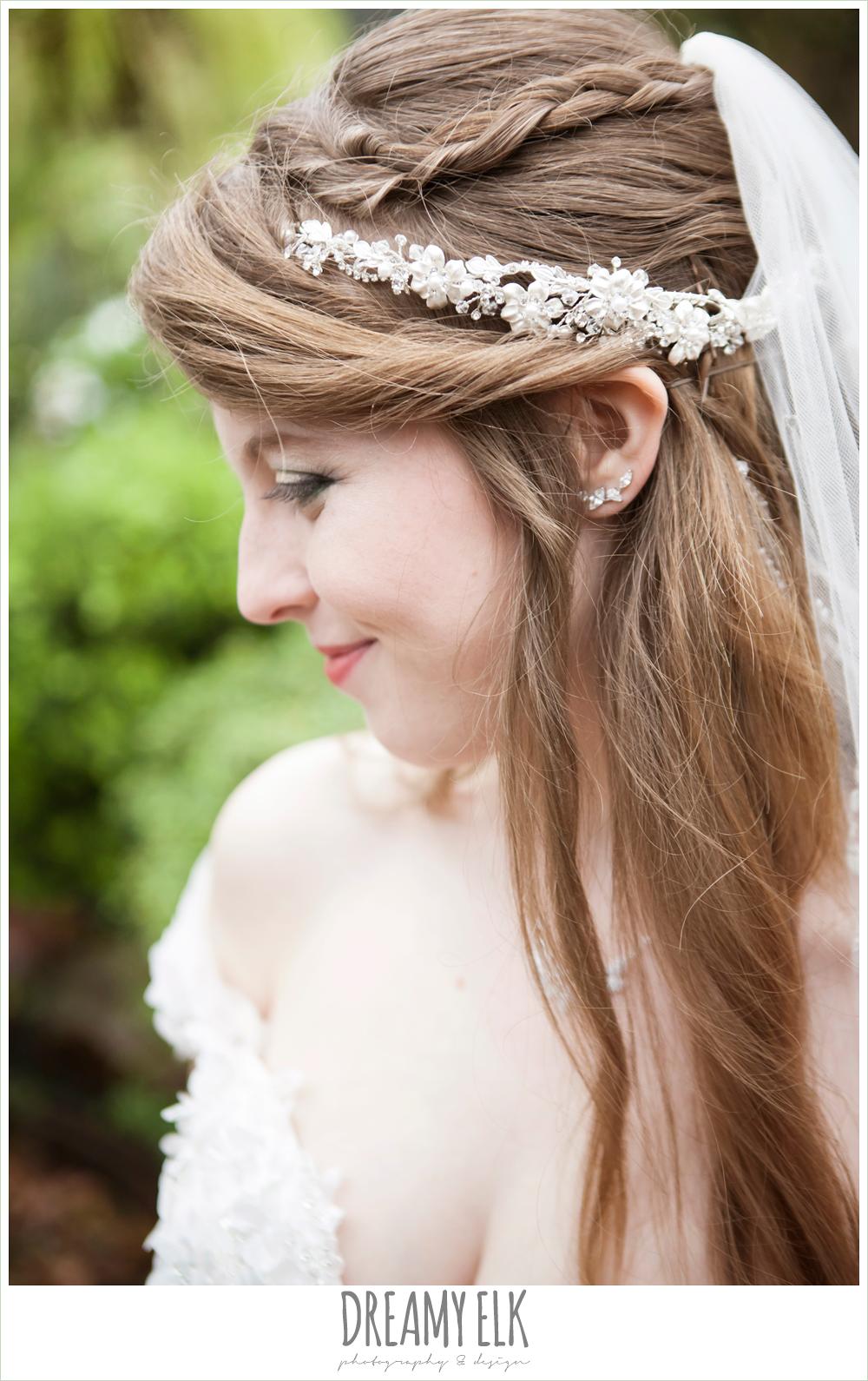 unique wedding hair down, off the shoulder wedding dress, le jardin winter wedding {dreamy elk photography and design}