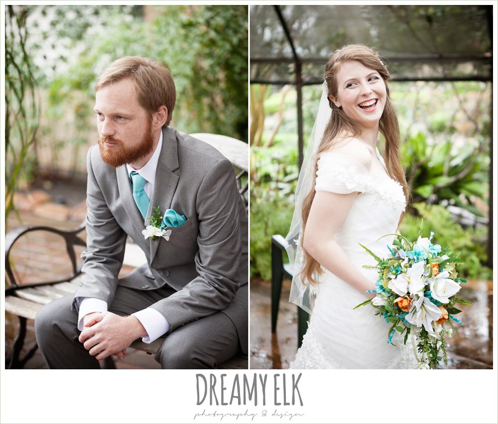 groom in gray suit, pool tie, off the shoulder mermaid wedding dress, le jardin winter wedding {dreamy elk photography and design}