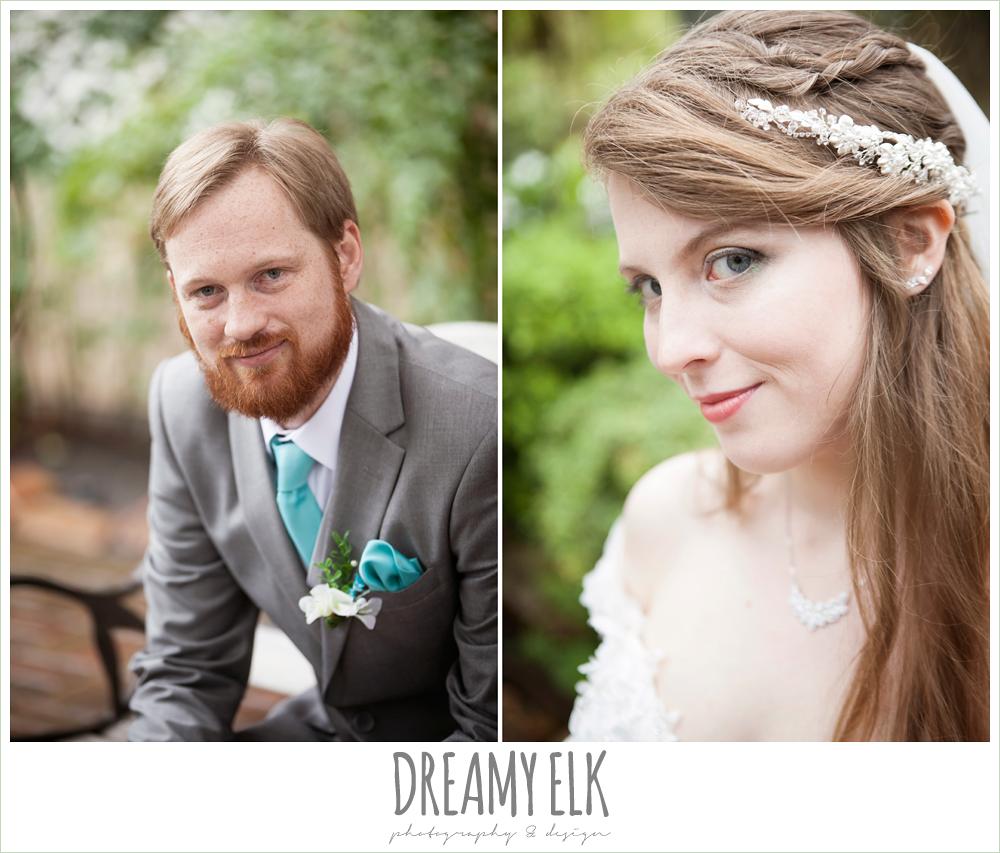 unique wedding hair down, groom in gray suit, pool tie, off the shoulder mermaid wedding dress, le jardin winter wedding {dreamy elk photography and design}