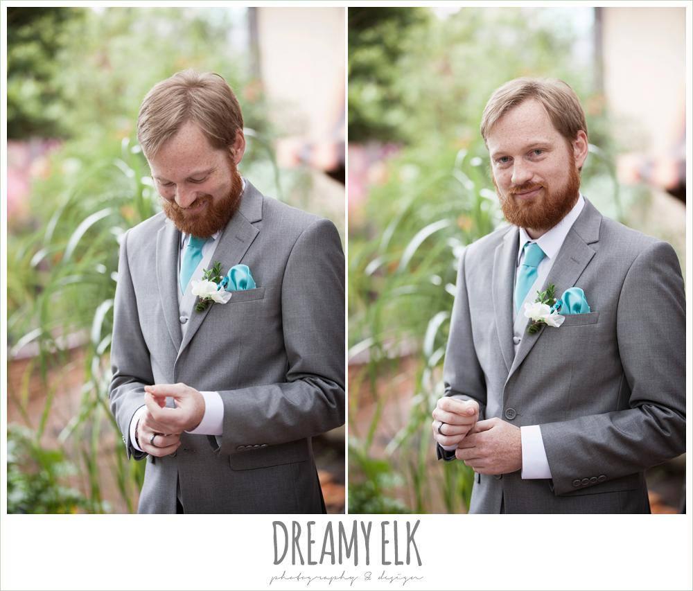 groom in gray suit, pool tie, le jardin winter wedding {dreamy elk photography and design}