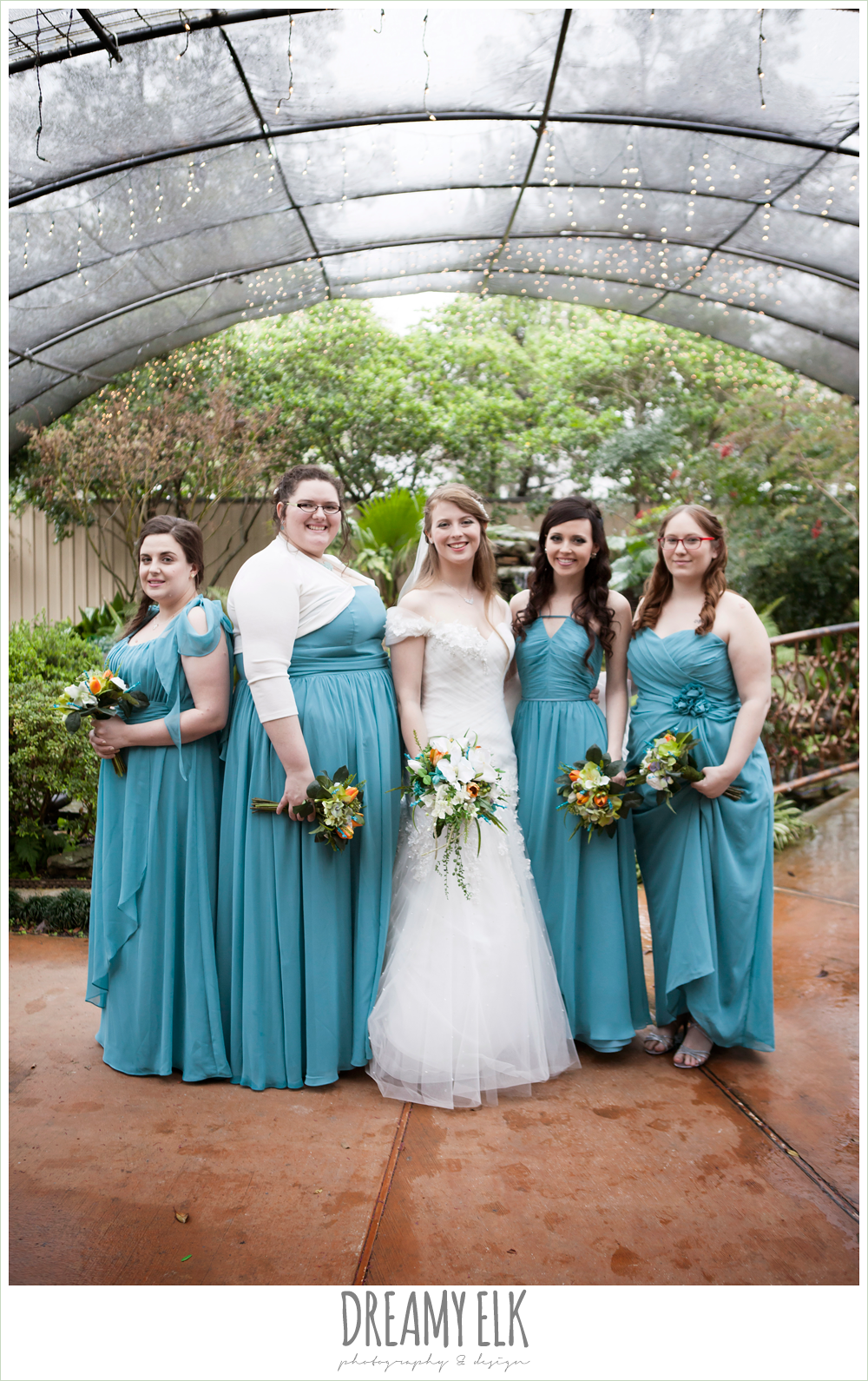 long mix and matched pool bridesmaids dresses, off the shoulder mermaid wedding dress, le jardin winter wedding {dreamy elk photography and design}