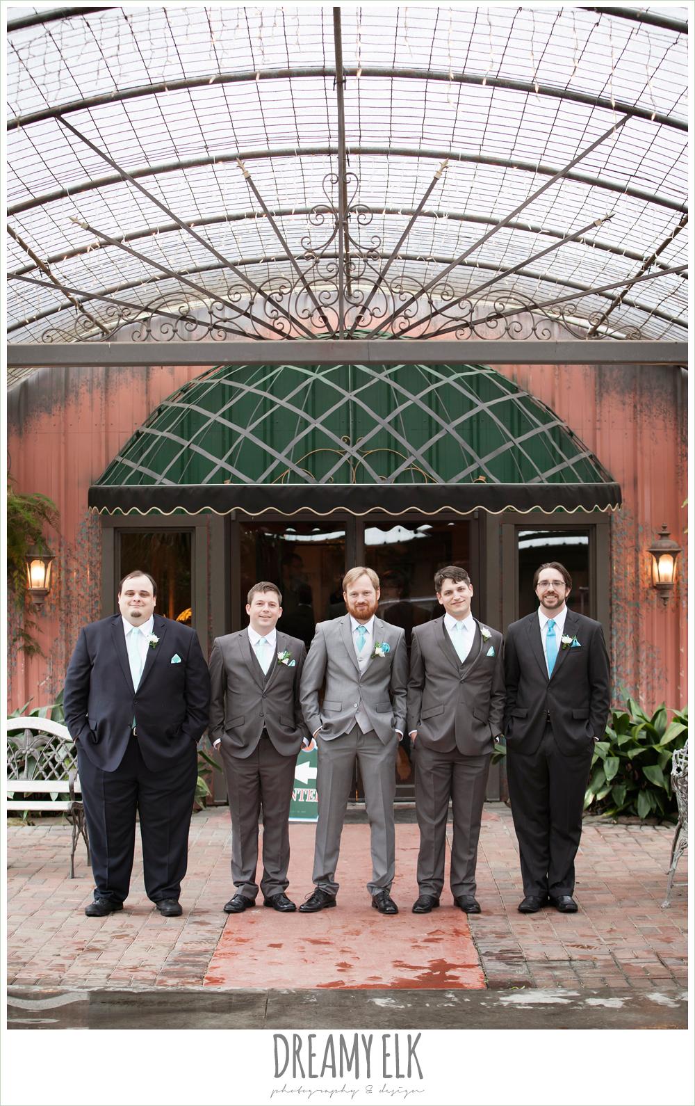 groom in gray suit, groomsmen in different suits, le jardin winter wedding {dreamy elk photography and design}