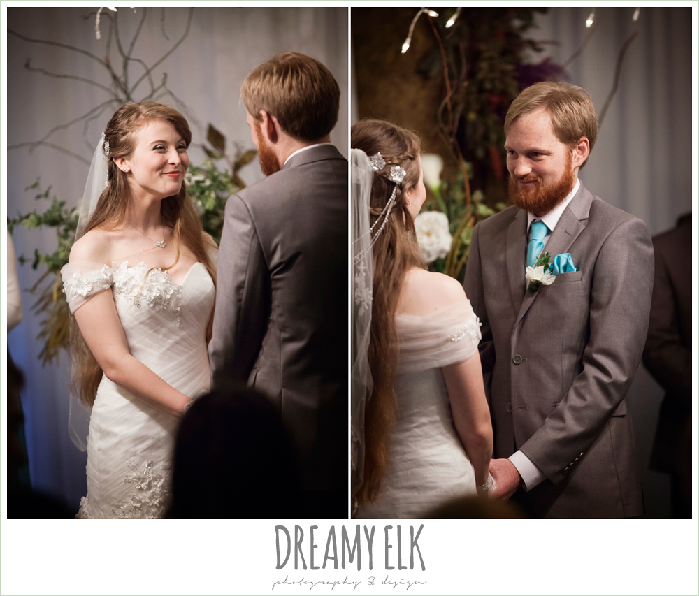 off the shoulder wedding dress, indoor wedding ceremony, le jardin winter wedding {dreamy elk photography and design}