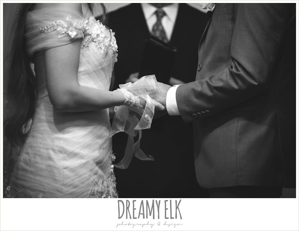 bride wearing lace gloves, off the shoulder wedding dress, le jardin winter wedding {dreamy elk photography and design}