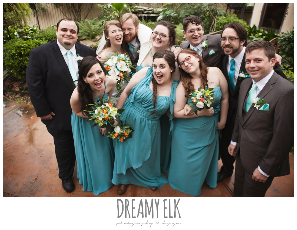fun bridal party photo, long pool mix and matched bridesmaids dresses, le jardin winter wedding {dreamy elk photography and design}