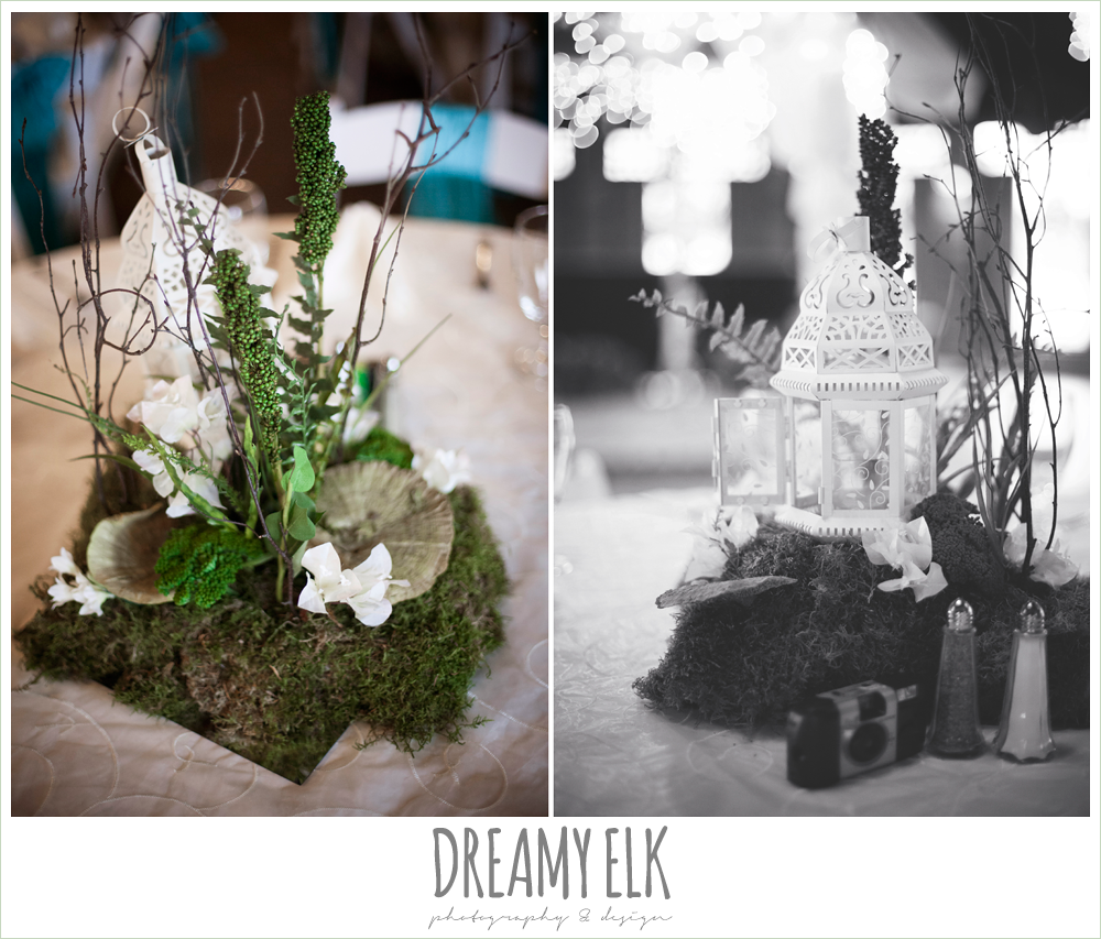 moss and lantern table centerpieces, groom in gray suit, pool tie, off the shoulder mermaid wedding dress, le jardin winter wedding {dreamy elk photography and design}