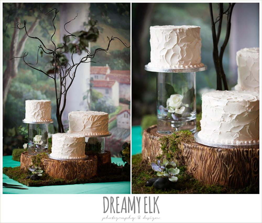 wedding cake on separate tiers, groom in gray suit, pool tie, off the shoulder mermaid wedding dress, le jardin winter wedding {dreamy elk photography and design}