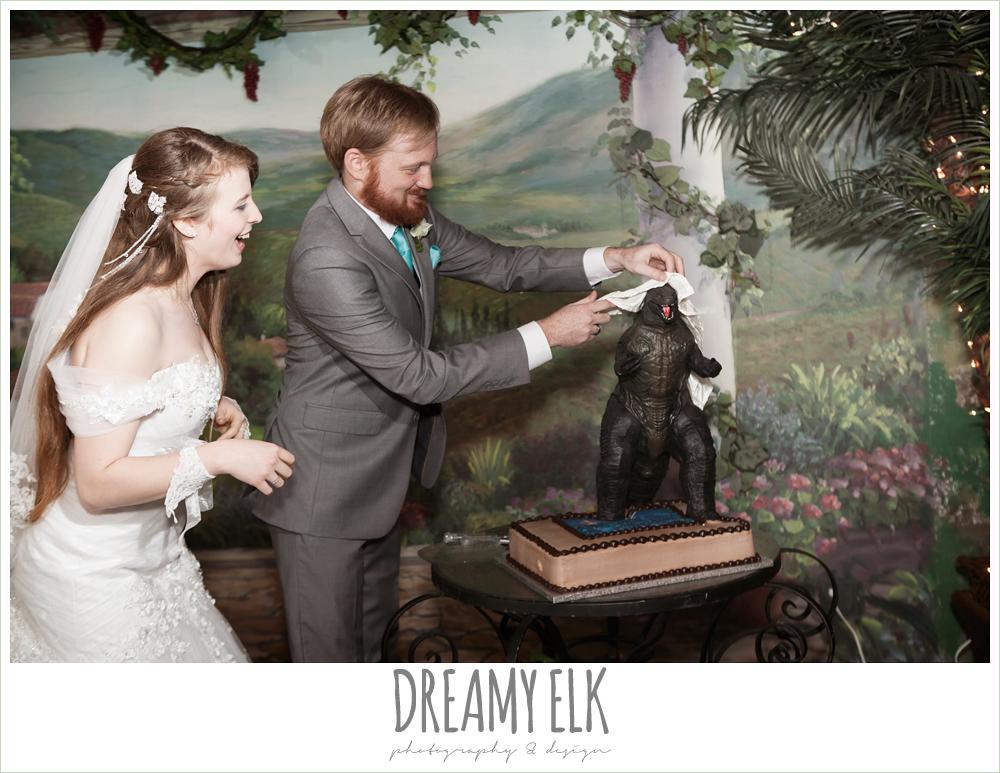 godzilla groom's cake, groom in gray suit, pool tie, off the shoulder mermaid wedding dress, le jardin winter wedding {dreamy elk photography and design}