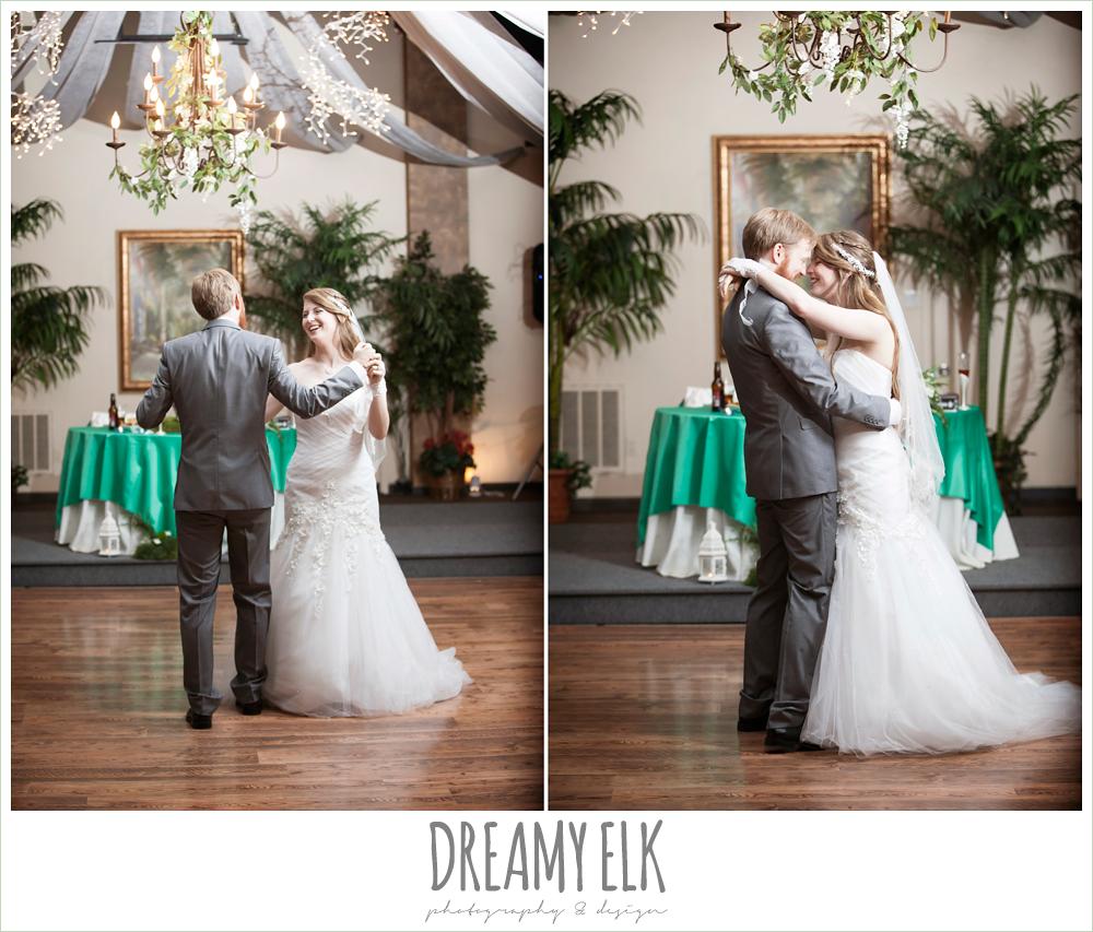 bride and groom's first dance, groom in gray suit, pool tie, off the shoulder mermaid wedding dress, le jardin winter wedding {dreamy elk photography and design}