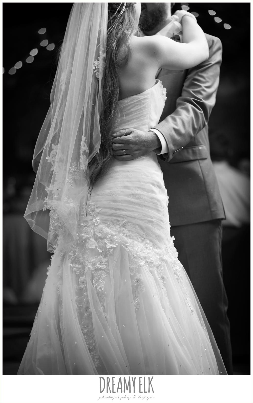 bride and groom's first dance, groom in gray suit, off the shoulder mermaid wedding dress, le jardin winter wedding {dreamy elk photography and design}