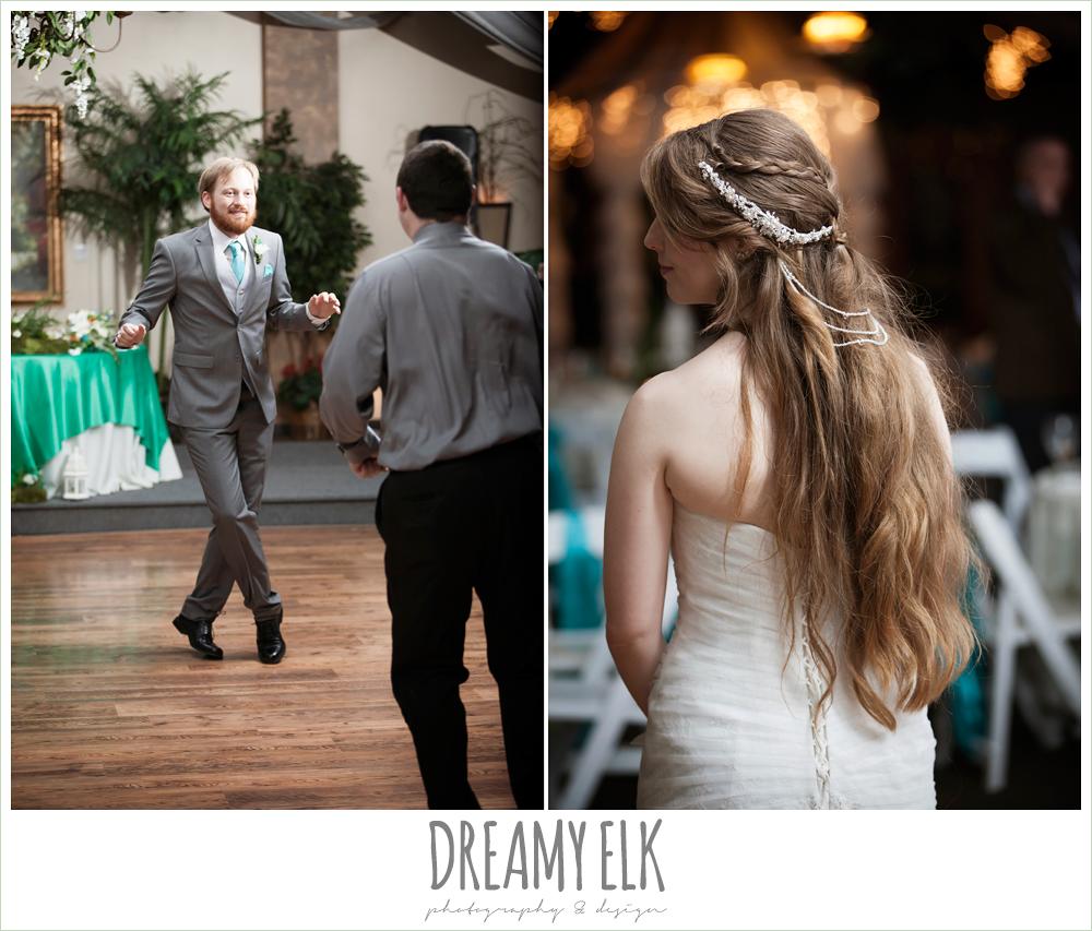 groom dancing, unique wedding hair down, groom in gray suit, pool tie, off the shoulder mermaid wedding dress, le jardin winter wedding {dreamy elk photography and design}