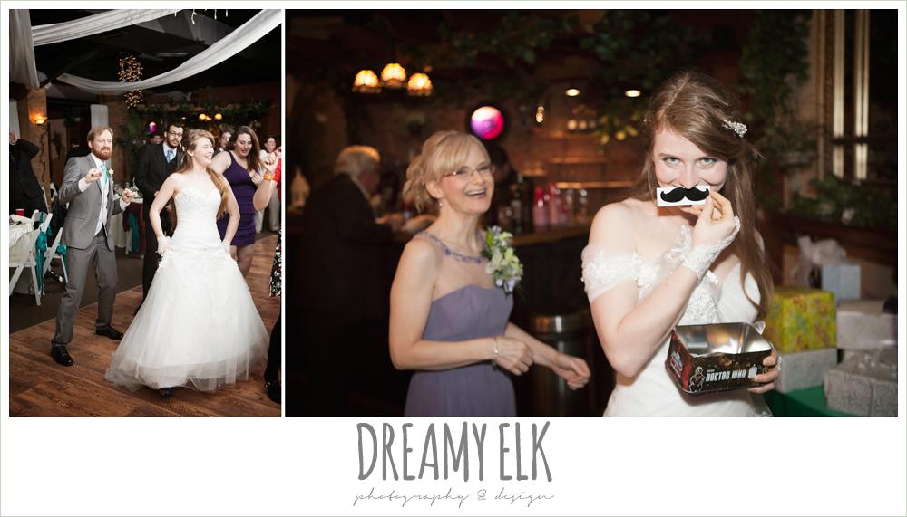 bride and groom dancing, bride with moustache, off the shoulder mermaid wedding dress, le jardin winter wedding {dreamy elk photography and design}