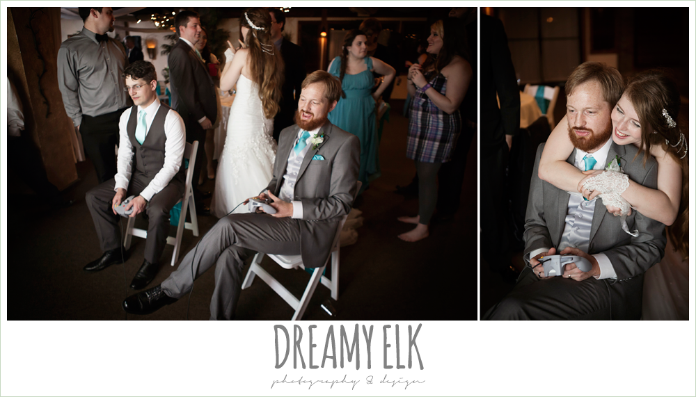 groom playing video games at wedding reception, le jardin winter wedding {dreamy elk photography and design}
