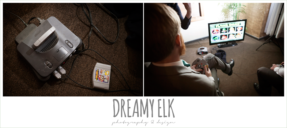 groom playing video games at wedding reception, nintendo 64, le jardin winter wedding {dreamy elk photography and design}