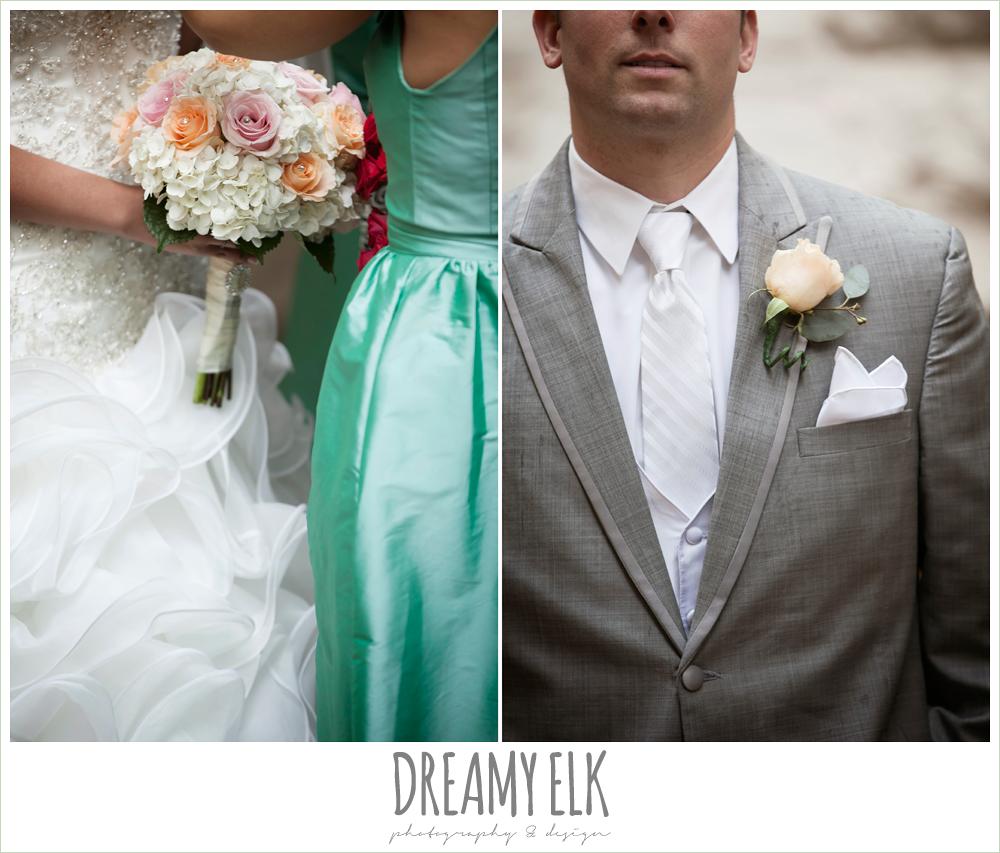 ruffle skirt wedding dress, green bridesmaid dress, downtown austin wedding {dreamy elk photography and design}