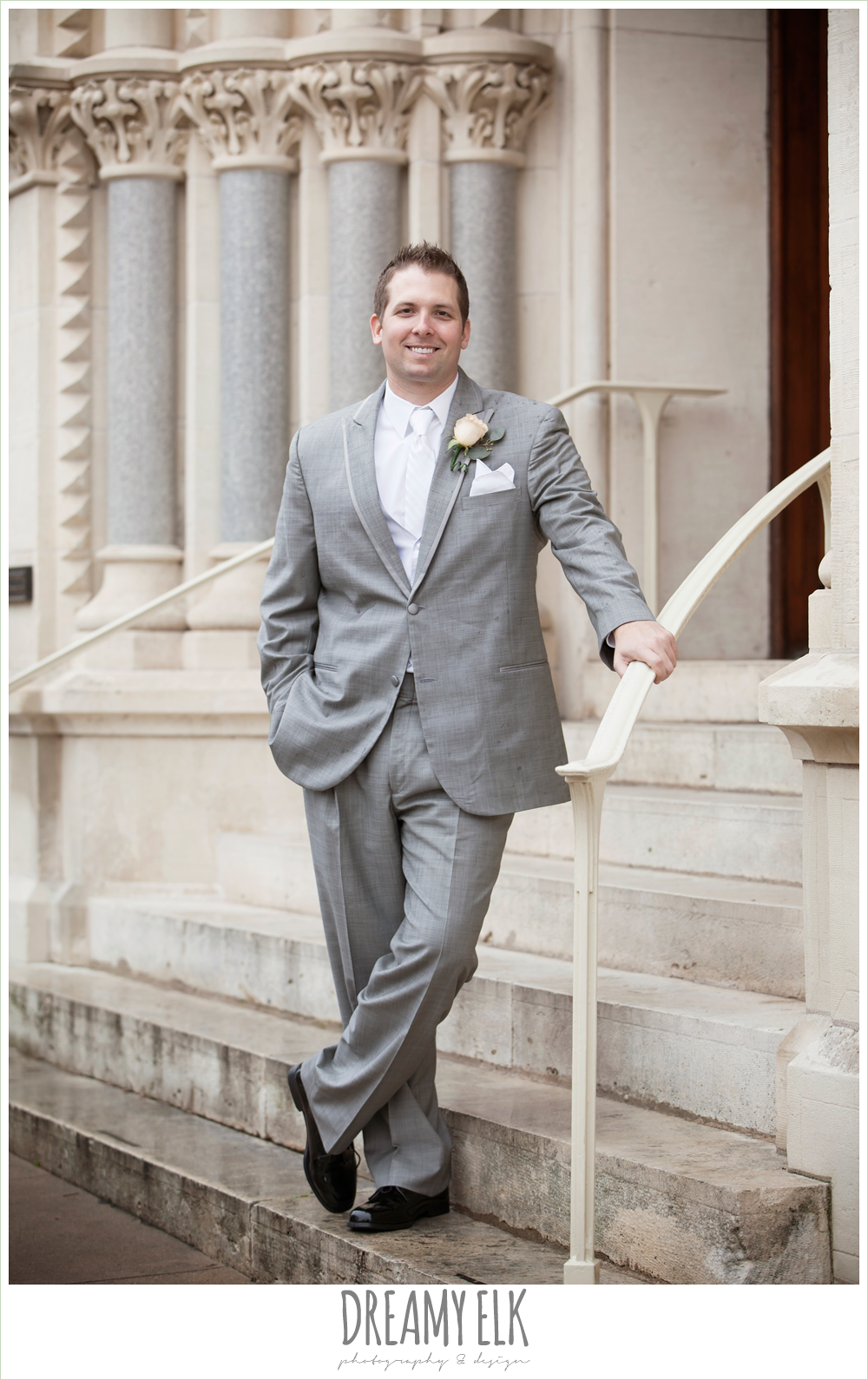 groom in gray suit, downtown austin wedding {dreamy elk photography and design}