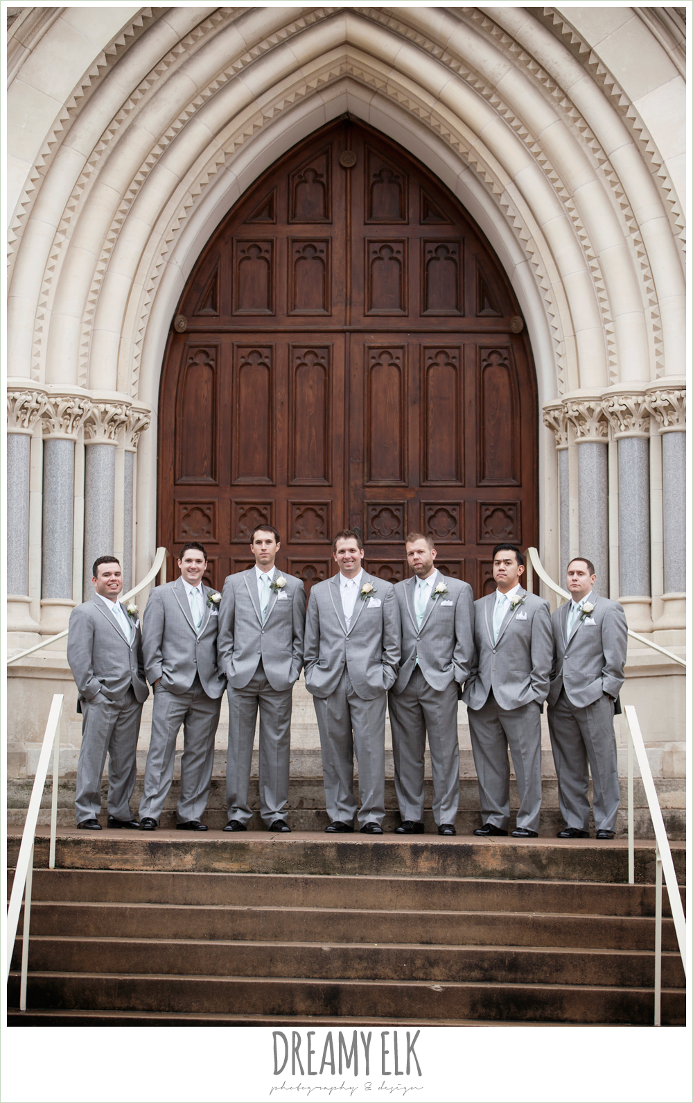 groom and groom in gray suits, downtown austin wedding {dreamy elk photography and design}