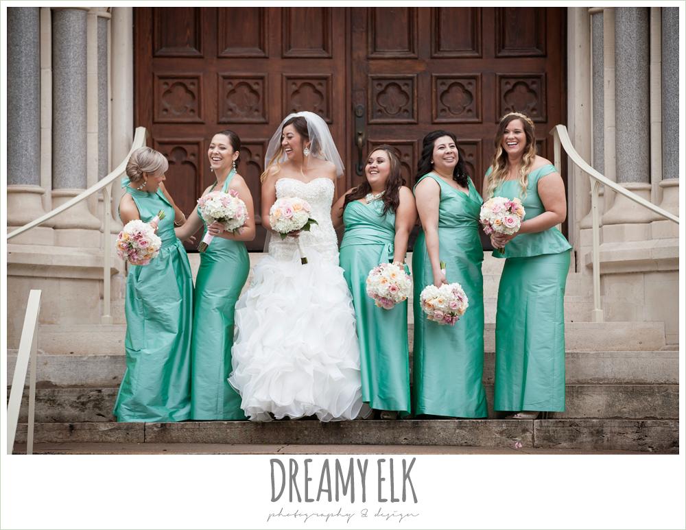 floor length green bridesmaids dresses, sweetheart strapless wedding dress, downtown austin spring wedding {dreamy elk photography and design}