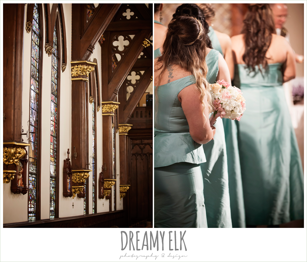 st mary's cathedral wedding ceremony, sweetheart strapless wedding dress, downtown austin spring wedding {dreamy elk photography and design}