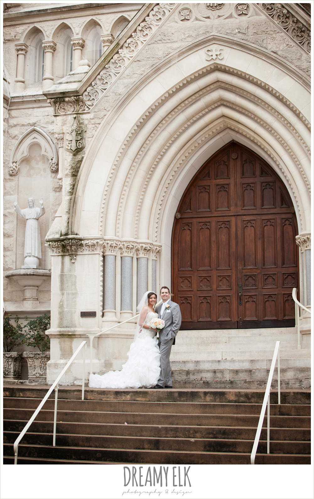 st mary's cathedral, groom in gray suit, sweetheart strapless ruffle skirt wedding dress, downtown austin spring wedding {dreamy elk photography and design}