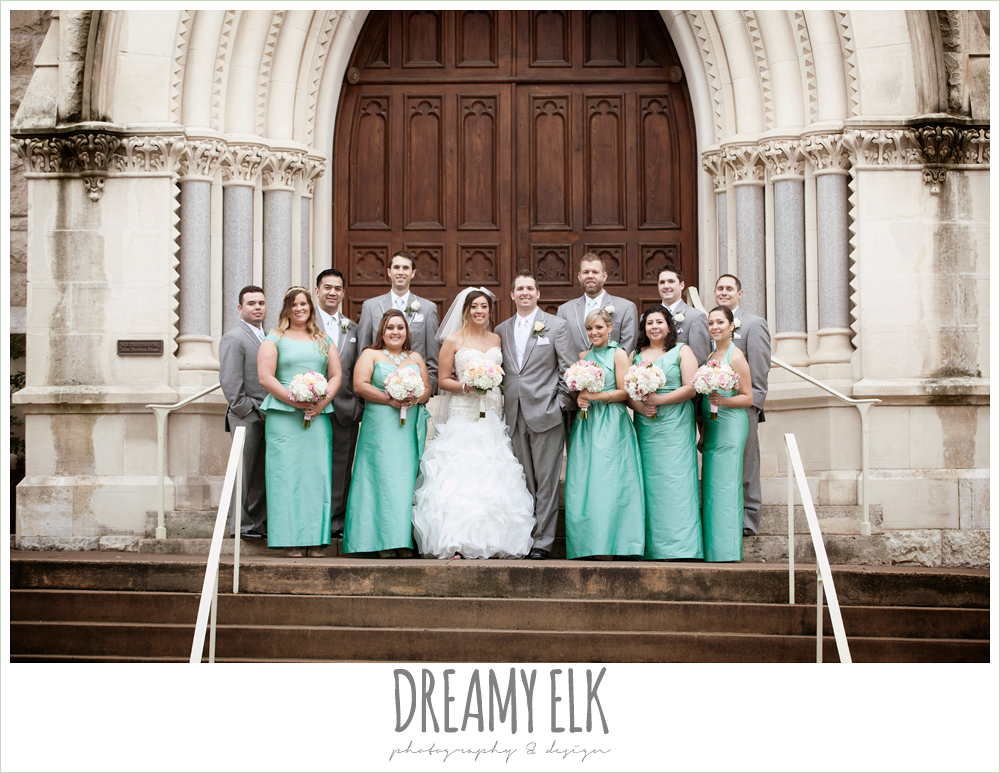 floor length green bridesmaids dresses, groom and groomsmen in gray suits, sweetheart strapless ruffle skirt wedding dress, downtown austin spring wedding {dreamy elk photography and design}