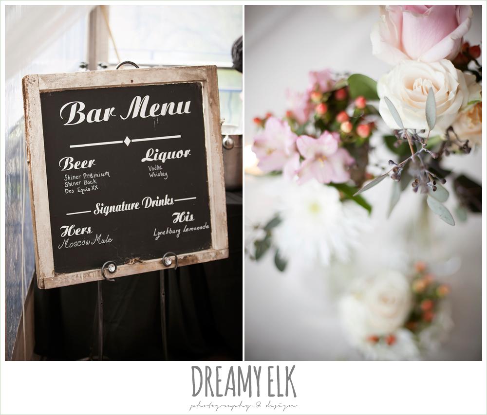 bar menu sign, floral table centerpieces, austin spring wedding {dreamy elk photography and design}