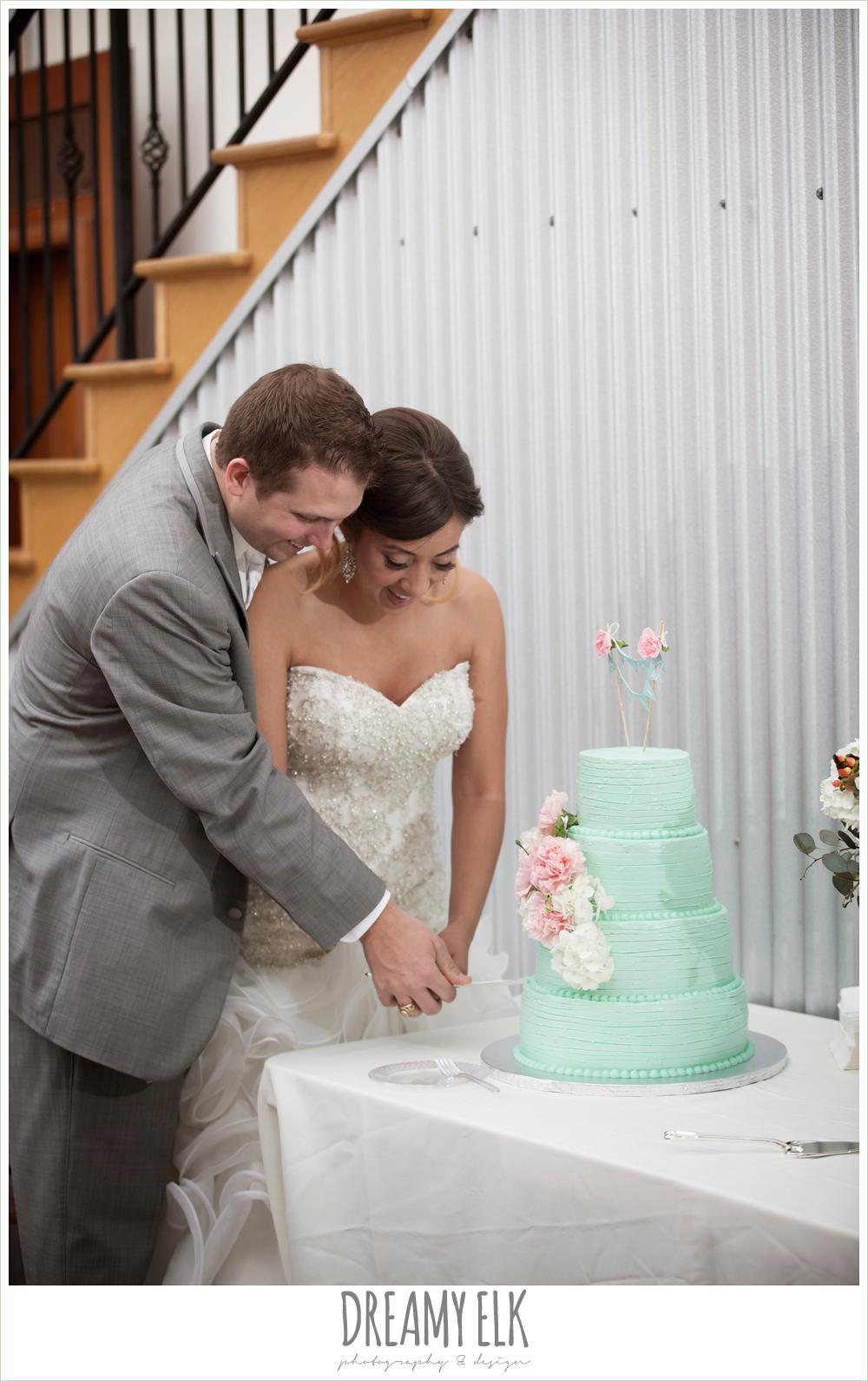 bride and groom cutting the cake, mint green wedding cake, sheila's sweet shoppe, terradorna wedding venue, austin spring wedding {dreamy elk photography and design}