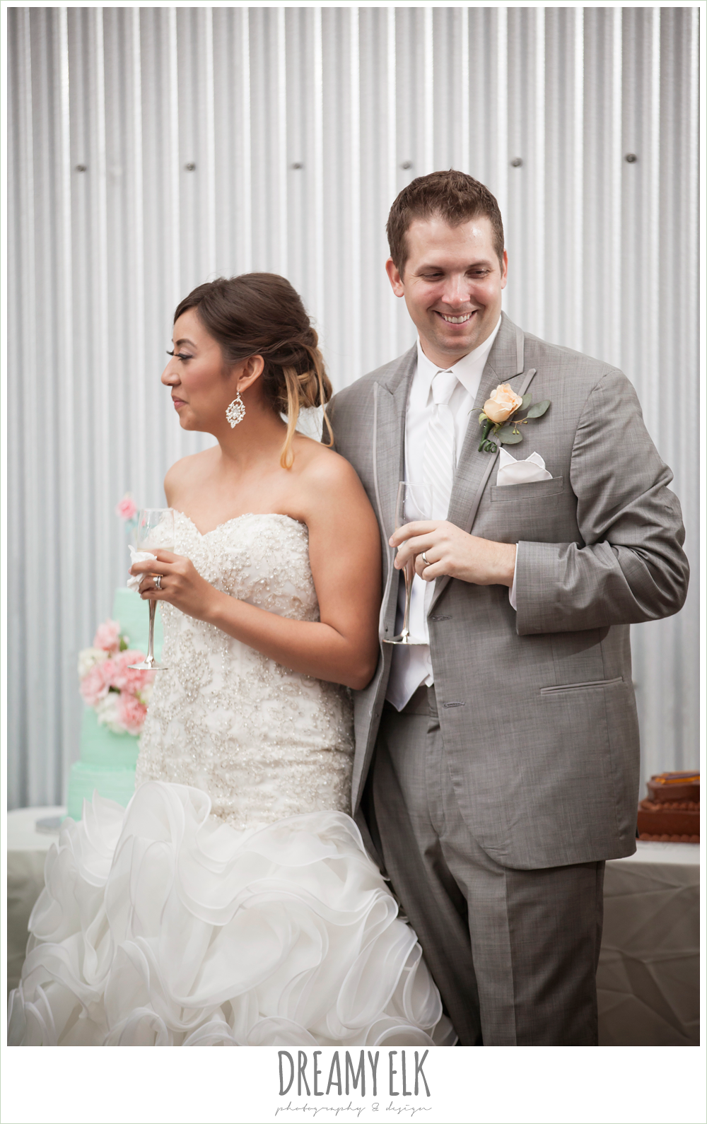 sweetheart strapless beaded wedding dress, groom in gray suit, terradorna wedding venue, austin spring wedding {dreamy elk photography and design}