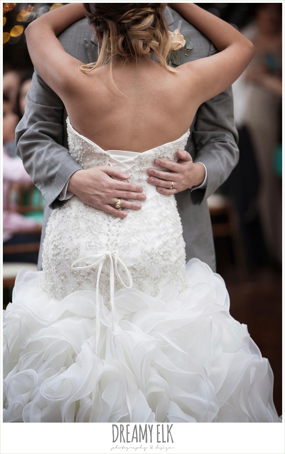 bride and groom's first dance, strapless beaded ruffle skirt wedding dress, terradorna wedding venue, austin spring wedding {dreamy elk photography and design}