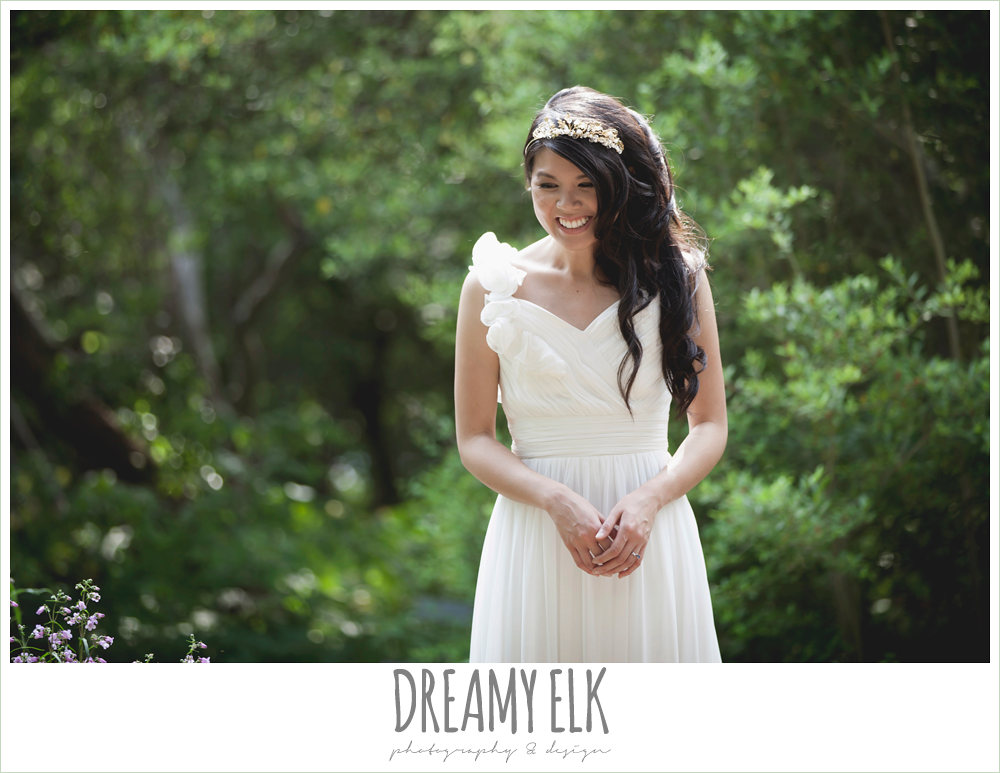 modern wedding tiara, chiffon wedding dress with ruffle sleeve, outdoor spring bridal photo, zilker botanical gardens, austin, texas {dreamy elk photography and design}
