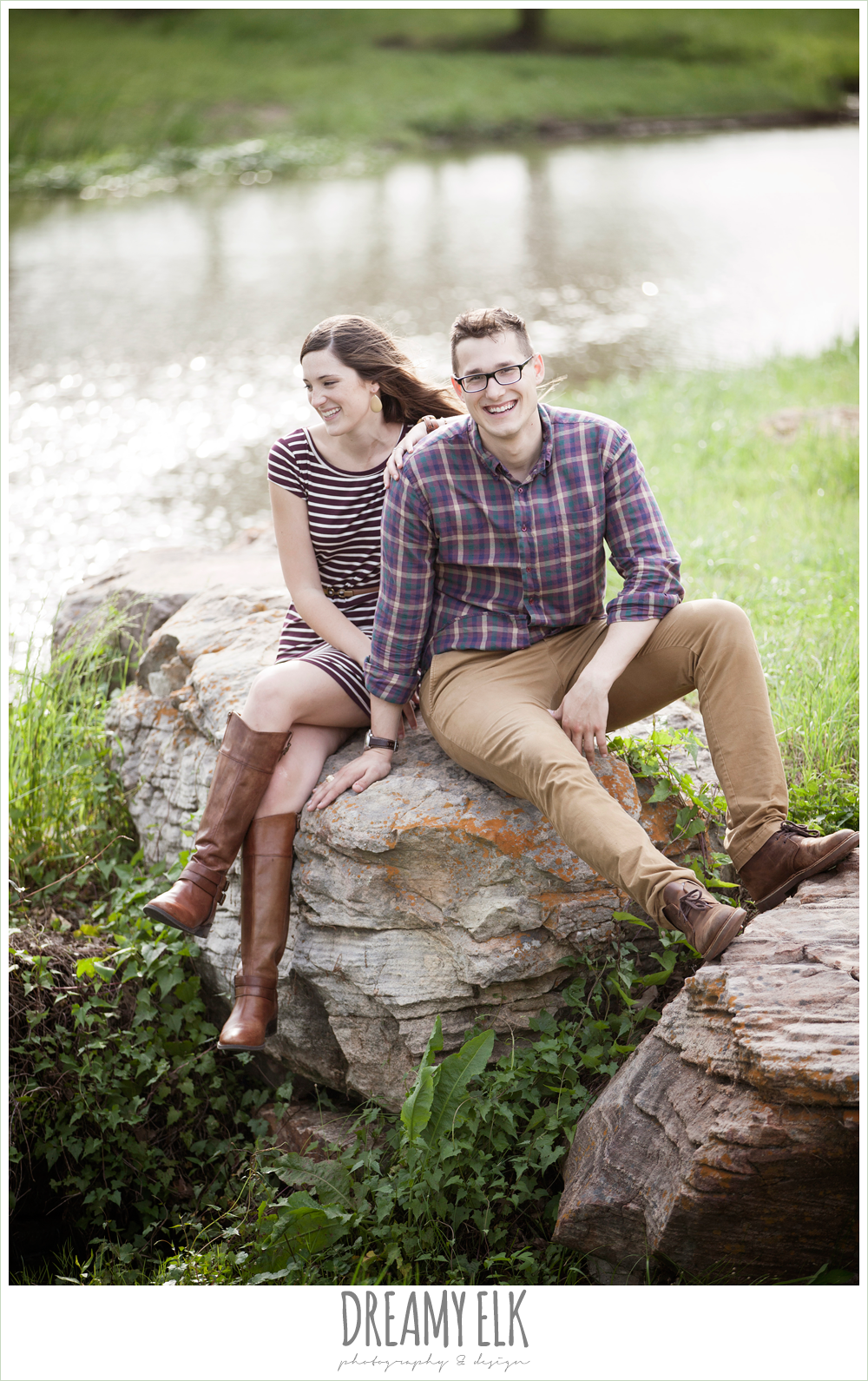 girl and guy sitting on a rock, woodsy engagement photo, research park, college station, texas {dreamy elk photography and design}
