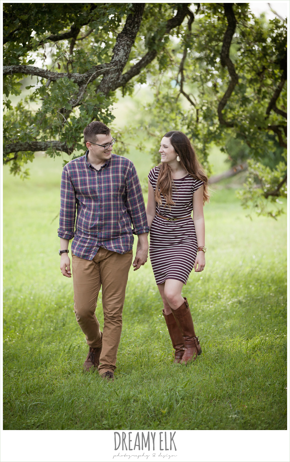 holding hands and walking, woodsy engagement photo, research park, college station, texas {dreamy elk photography and design}