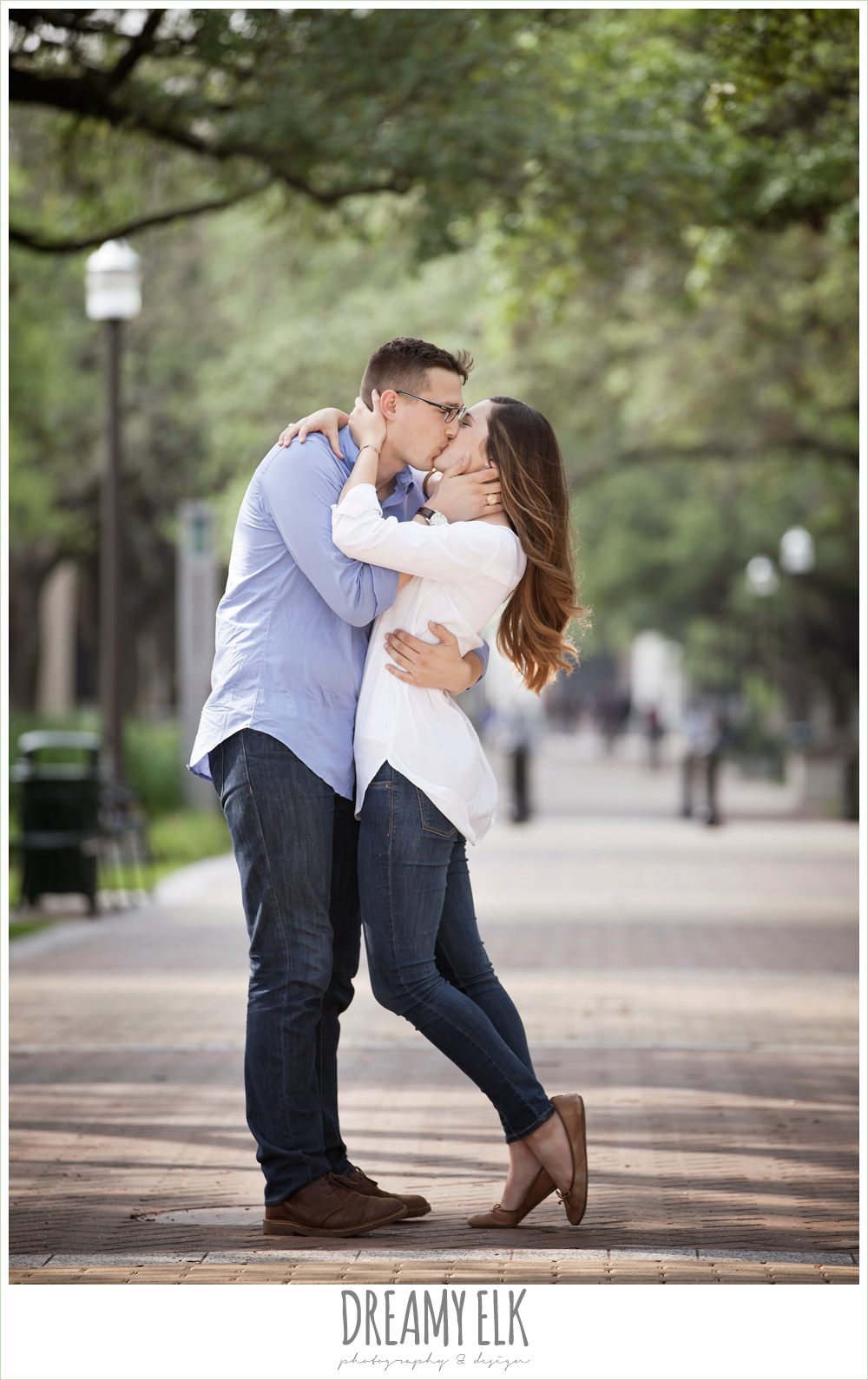 girl and guy kissing, military walk, texas a&m campus engagement photo, college station, texas {dreamy elk photography and design}