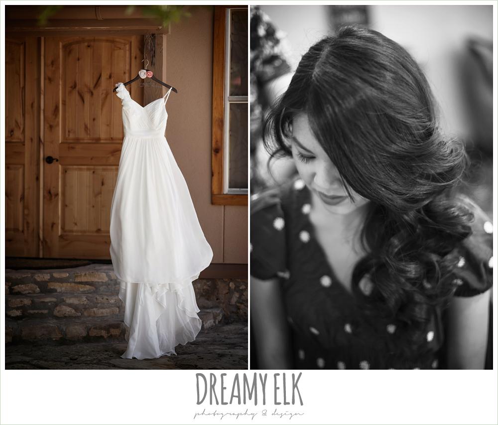 chiffon wedding dress, bride getting hair done, la hacienda, dripping springs, texas {dreamy elk photography and design} photo