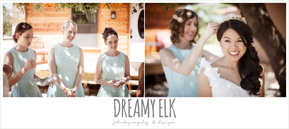 bride getting dressed, mint bridesmaids dresses, modern wedding tiara, wedding hair side swept, la hacienda, dripping springs, texas {dreamy elk photography and design} photo