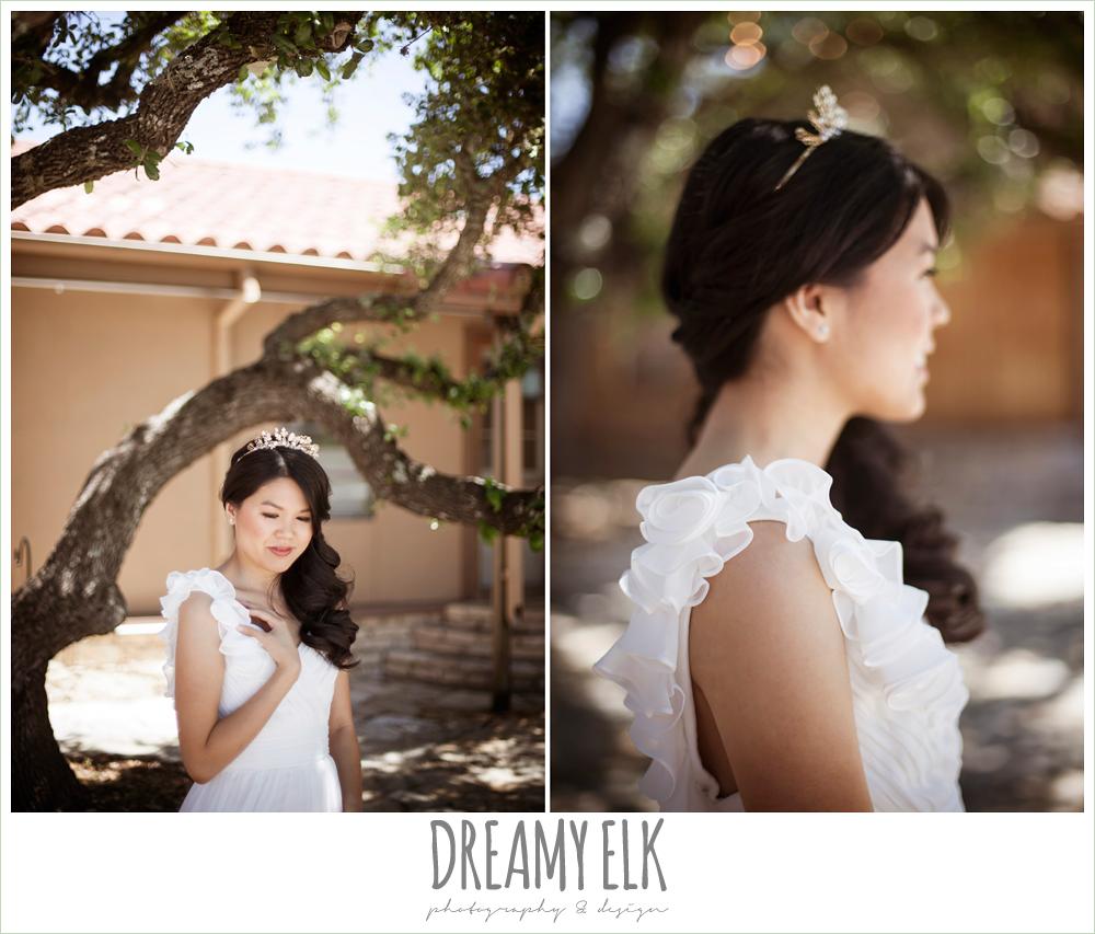 chiffon wedding dress with ruffle sleeve, wedding hair side swept, la hacienda, dripping springs, texas {dreamy elk photography and design} photo
