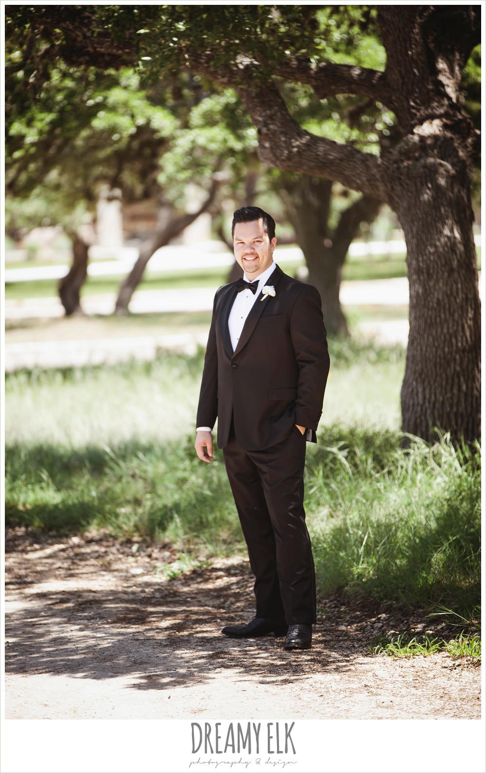 groom in tuxedo, la hacienda, dripping springs, texas {dreamy elk photography and design} photo
