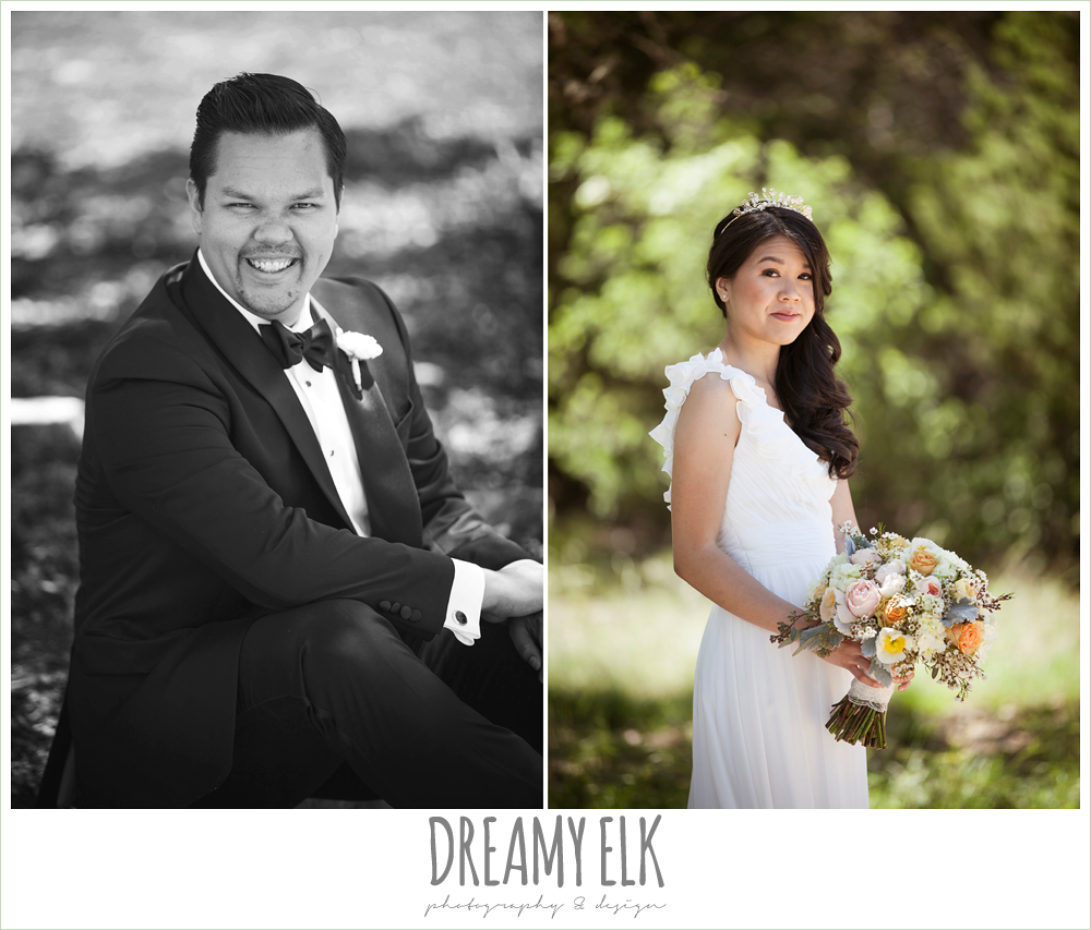 groom in tuxedo, chiffon wedding dress with ruffle sleeve, wedding hair side swept, pink orange and yellow bouquet, la hacienda, dripping springs, texas {dreamy elk photography and design} photo
