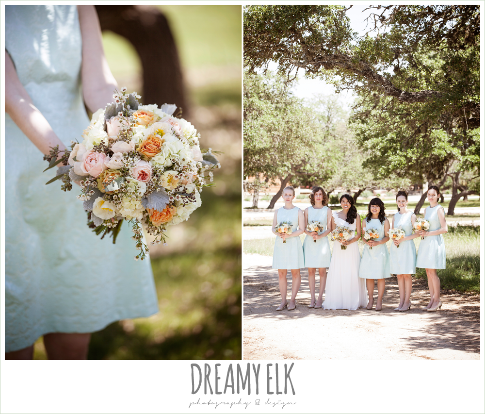 mint bridesmaids dresses, chiffon wedding dress with ruffle sleeve, wedding hair side swept, pink orange and yellow bouquet, wild bunches florist, fringe events and design, la hacienda, dripping springs, texas {dreamy elk photography and design} photo