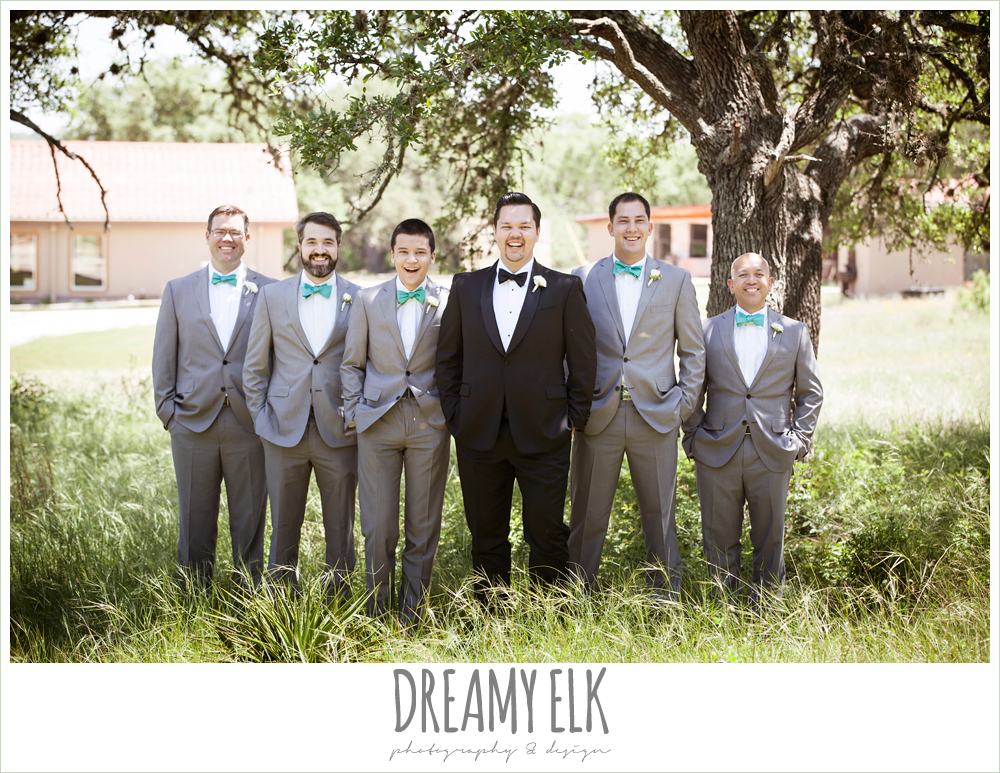groom in tuxedo, groomsmen in gray suits, la hacienda, dripping springs, texas {dreamy elk photography and design} photo