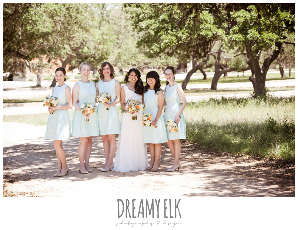 bride and bridesmaids, chiffon wedding dress with ruffle sleeve, wedding hair side swept, pink orange and yellow bouquet, wild bunches florist, la hacienda, dripping springs, texas {dreamy elk photography and design} photo