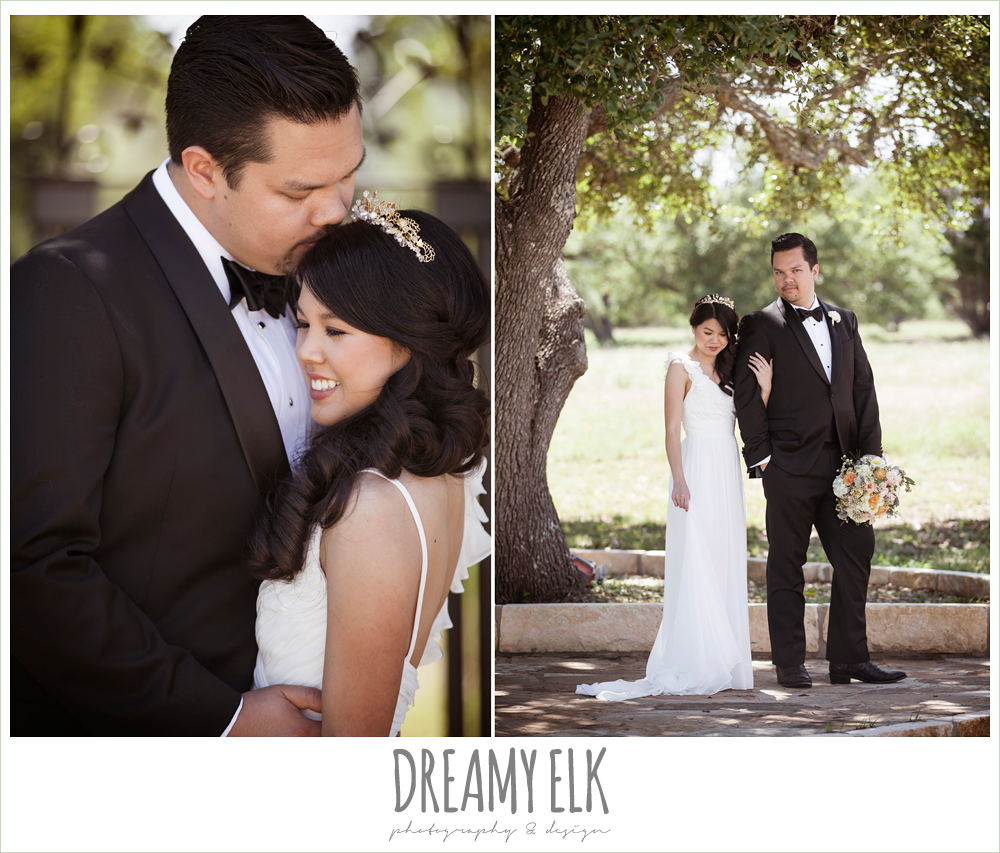 bride and groom, groom in tuxedo, chiffon wedding dress with ruffle sleeve, wedding hair side swept, pink orange and yellow bouquet, wild bunches florist, la hacienda, dripping springs, texas {dreamy elk photography and design} photo