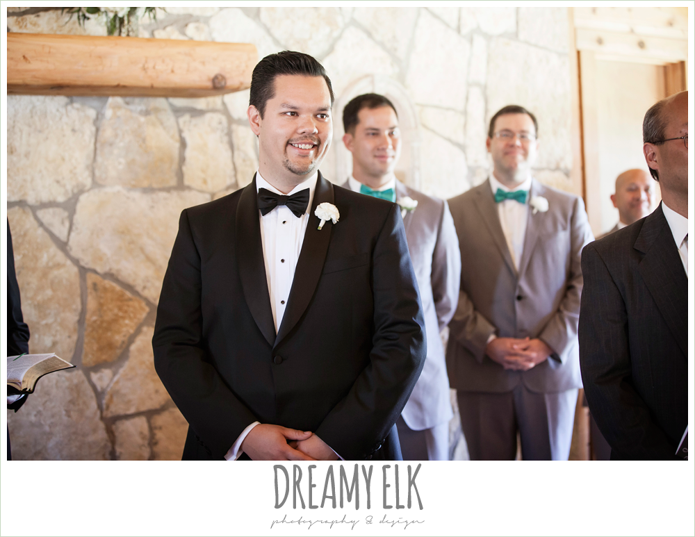 groom's reaction to bride walking down the aisle, la hacienda, dripping springs, texas {dreamy elk photography and design} photo
