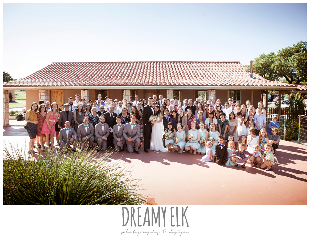 photo with all wedding guests, bridal party photo, mint bridesmaids dresses, groomsmen in gray suits, la hacienda, dripping springs, texas {dreamy elk photography and design} photo