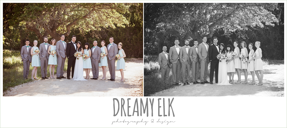 bridal party photo, mint bridesmaids dresses, groomsmen in gray suits, la hacienda, dripping springs, texas {dreamy elk photography and design} photo