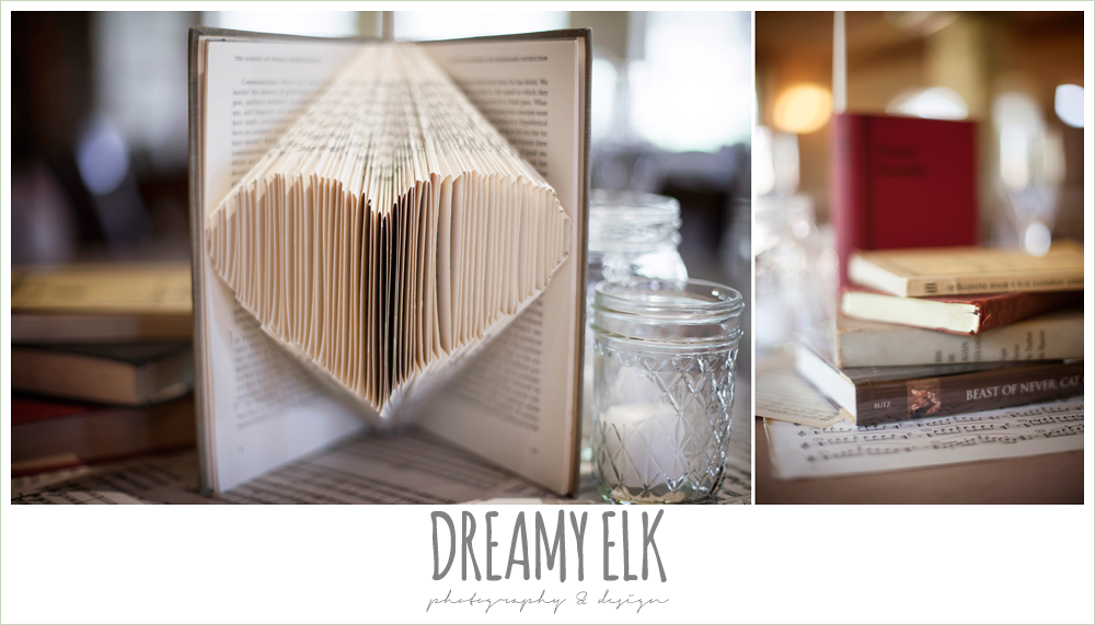 music and book themed wedding decorations, table centerpieces, fringe events and design, la hacienda, dripping springs, texas {dreamy elk photography and design} photo
