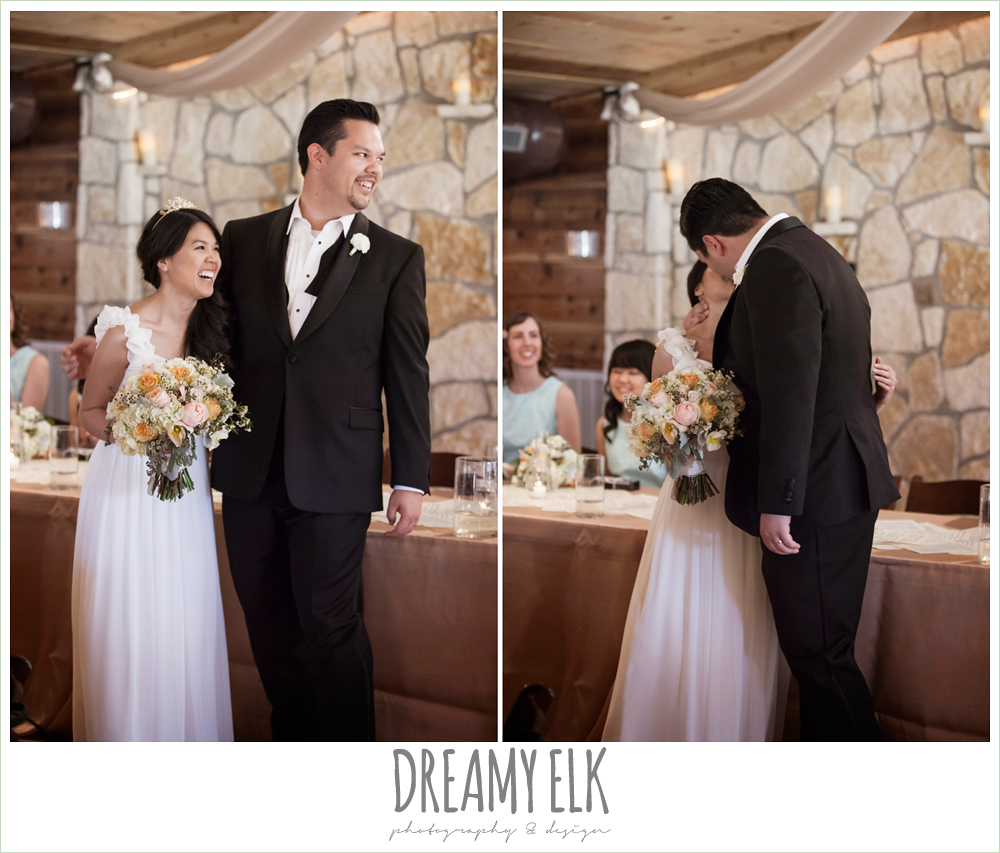 bride and groom kissing during toasts, la hacienda, dripping springs, texas {dreamy elk photography and design} photo
