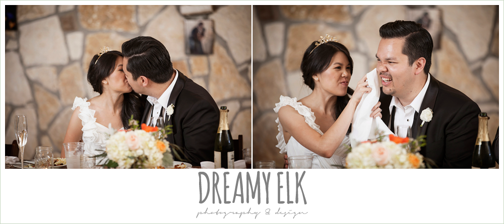 bride and groom kissing, bride wiping lipstick off of groom, la hacienda, dripping springs, texas {dreamy elk photography and design} photo