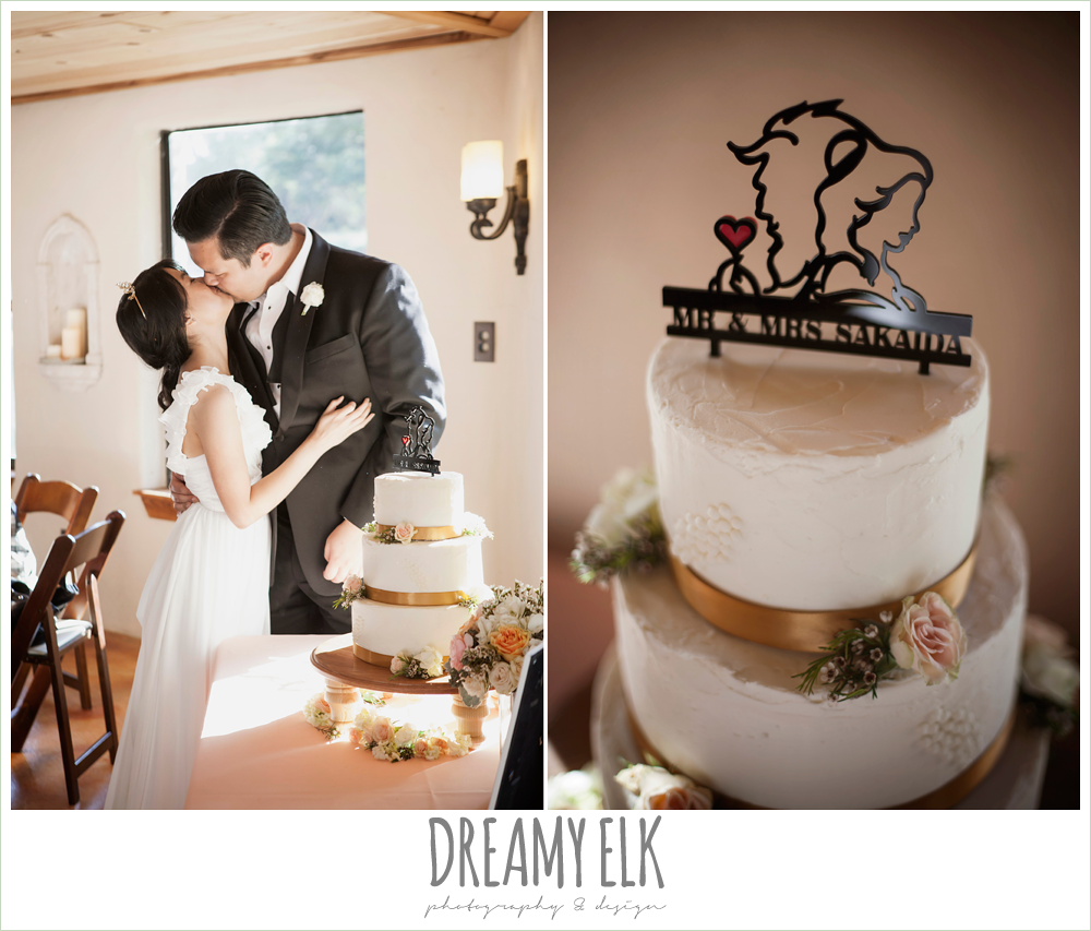 bride and groom cutting the cake, joyful vagabond bakery, beauty and the beast cake topper, la hacienda, dripping springs, texas {dreamy elk photography and design} photo
